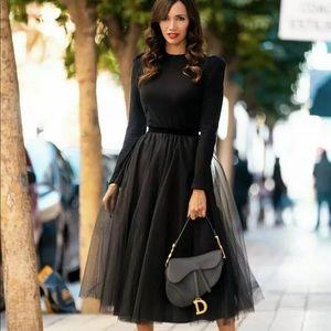 Zara Black Tulle Skirt Polka Dot Voluminous Skirt